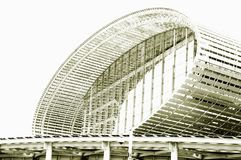 Schwarzweiss-Foto, die gr??te Ausstellungshalle der Welt, Geb?ude, internationale Ausstellungs-Mitte Guangzhous Pazhou stockfoto