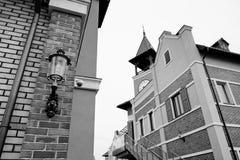 Schwarzweiss-Foto Pekings, China Dorfausgang Fertigung, niederländisches Dorf mit Laterne herein Stockfotografie