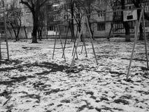 Schwarzweiss-Foto von playgroung Lizenzfreies Stockbild