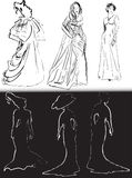Schwarzweiss-Frauen in den klassischen Kleiderskizzen Lizenzfreies Stockbild
