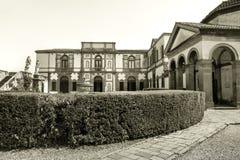 Schwarzweiss-Gartenhecken-Landhaus duodo Padua Venetien Italien Stockfotografie
