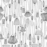 Schwarzweiss-Gekritzel-Künstler Brushes Seamless Pattern stock abbildung