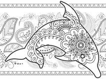 Schwarzweiss-gezeichnetes Gekritzel des Delphins Hand lizenzfreies stockfoto