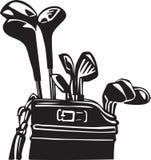 Schwarzweiss-Golfclubs und Taschen-Illustration stock abbildung