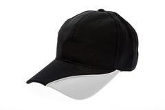 Schwarzweiss-Golfkappe für Mann auf weißem Hintergrund Stockfoto