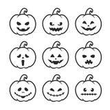 Schwarzweiss--Halloween-Kürbis eingestellt mit Gesichtern lizenzfreie abbildung