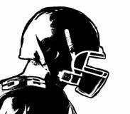 Schwarzweiss-Hand gezeichneter Spieler des amerikanischen Fußballs auf weißem BAC Stockfoto