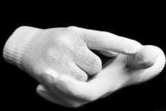 Schwarzweiss-Handschuhe Stockfoto