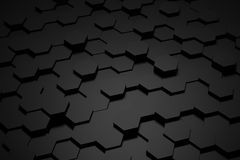 Schwarzweiss-Hexagonfliese Stockfoto