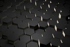 Schwarzweiss-Hexagonfliese Stockbild