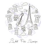 Schwarzweiss-Hintergrund mit Ausflug Eiffel Stockbilder