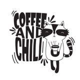 Schwarzweiss-Hintergrund mit glücklichem Waschbären und englischem Text Kaffee und Schauer vektor abbildung