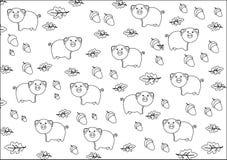 Schwarzweiss-Hintergrund mit Schweinen Lizenzfreie Stockfotografie