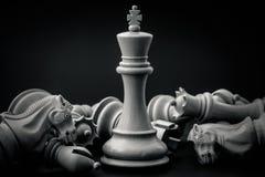 Schwarzweiss-König und Ritter des Schachs gründeten auf dunklem backgroun Stockbild
