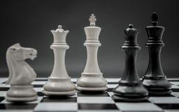 Schwarzweiss-König und Ritter des Schachs gründeten auf dunklem backgroun Stockbilder