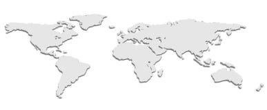 Schwarzweiss-Karte der Welt 3D Lizenzfreies Stockbild
