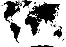 Schwarzweiss-Karte der Welt 3D stockbild