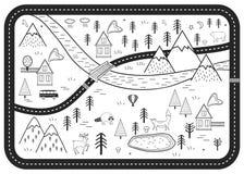 Schwarzweiss-Kinderstraßen-Spiel-Matte Vektor-Fluss, Berge und Holz wagt Karte mit Häusern und Tieren stock abbildung