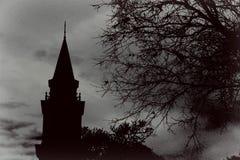 Schwarzweiss-Kirchturm Stockfotografie