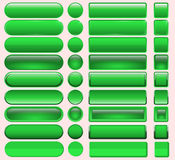 Schwarzweiss-Knopf gesetzt um und quadratische Knöpfe Stockbild
