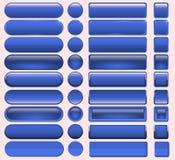Schwarzweiss-Knopf gesetzt um und quadratische Knöpfe Stockfotos