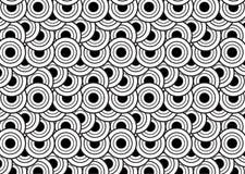 Schwarzweiss-Kreismuster für Hintergrund Geometrische Formen Stockbild