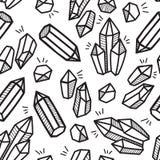 Schwarzweiss-- Kristall-boho Hand gezeichnetes Muster Stockfoto