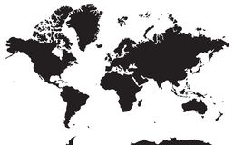 Schwarzweiss-Landkarte Kontinente: Asien, Europa, Nort stock abbildung