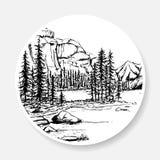 Schwarzweiss-Landschaft in Form einer Skizze auf dem Aufkleber vektor abbildung