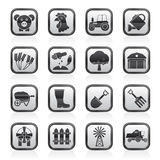 Schwarzweiss-Landwirtschafts- und Landwirtschaftsikonen Lizenzfreie Stockfotos