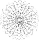 Schwarzweiss-on-line-Kunst Geometrische runde Blumenverzierung Stockbild