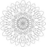 Schwarzweiss-on-line-Kunst Geometrische runde Blumenverzierung Lizenzfreie Stockbilder