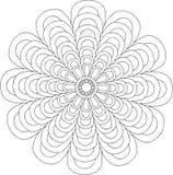 Schwarzweiss-on-line-Kunst Geometrische runde Blumenverzierung Stockfoto