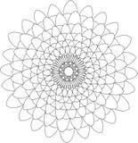 Schwarzweiss-on-line-Kunst Geometrische runde Blumenverzierung Stockbilder