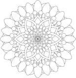 Schwarzweiss-on-line-Kunst Geometrische runde Blumenverzierung Lizenzfreie Stockfotografie