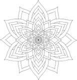 Schwarzweiss-on-line-Kunst Geometrische runde Verzierung Lizenzfreie Stockbilder