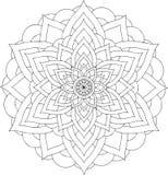 Schwarzweiss-on-line-Kunst Geometrische runde Verzierung Stockfotografie