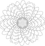 Schwarzweiss-on-line-Kunst Geometrische runde Verzierung Lizenzfreies Stockbild