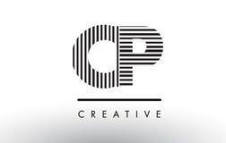 Schwarzweiss-Linien Buchstabe Logo Design CPs C P Lizenzfreies Stockfoto