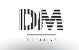 Schwarzweiss-Linien Buchstabe Logo Design DM D M Stockbild