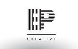 Schwarzweiss-Linien Buchstabe Logo Design EP E P Lizenzfreie Stockfotos