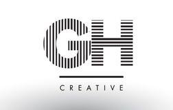 Schwarzweiss-Linien Buchstabe Logo Design Handhabung am Boden G H vektor abbildung