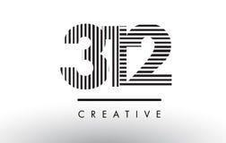 312 Schwarzweiss-Linien Zahl Logo Design lizenzfreie abbildung