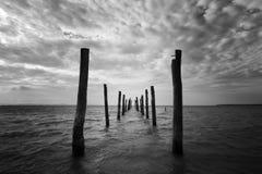 Schwarzweiss-Meerblick mit hölzernen Säulen Stockfoto