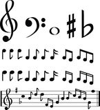 Schwarzweiss-Musikanmerkungsauswahl Stockfotos