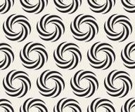 Schwarzweiss-Muster der Vektor-nahtloses gewundenes Geometrie-Kreis-optischen Täuschung Stockfoto