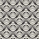 Schwarzweiss-Muster der Vektor-nahtloses konzentrische Kreis-optischen Täuschung Lizenzfreies Stockfoto