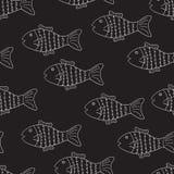Schwarzweiss-Muster mit Fischen Stockbild