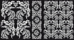 Schwarzweiss-Muster mit Pferdekopf Stockfotografie