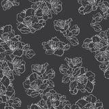 Schwarzweiss-nahtloses mit Blumenmuster lizenzfreie abbildung
